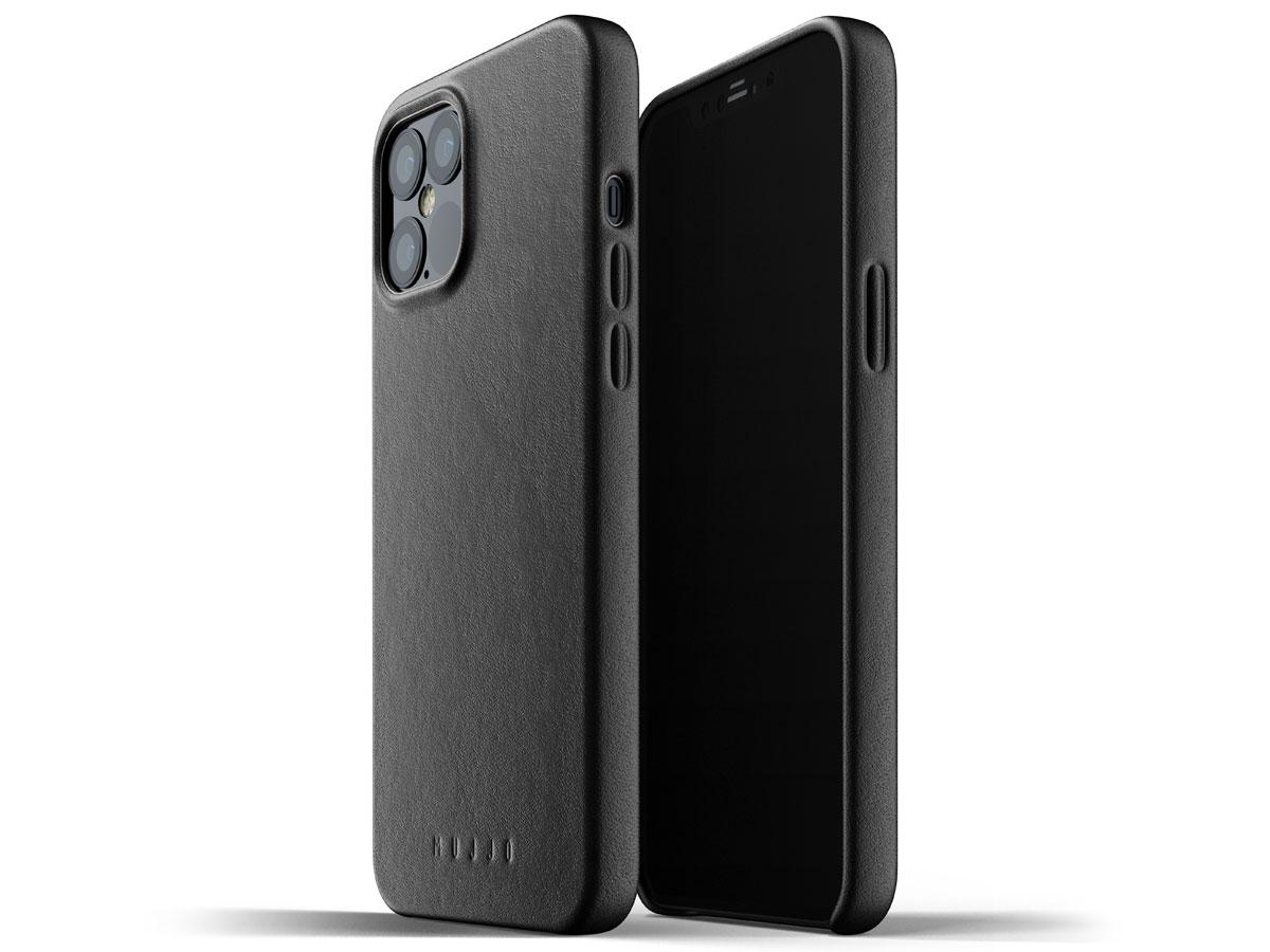 Mujjo Full Leather Case Zwart - iPhone 12 Pro Max Hoesje Leer