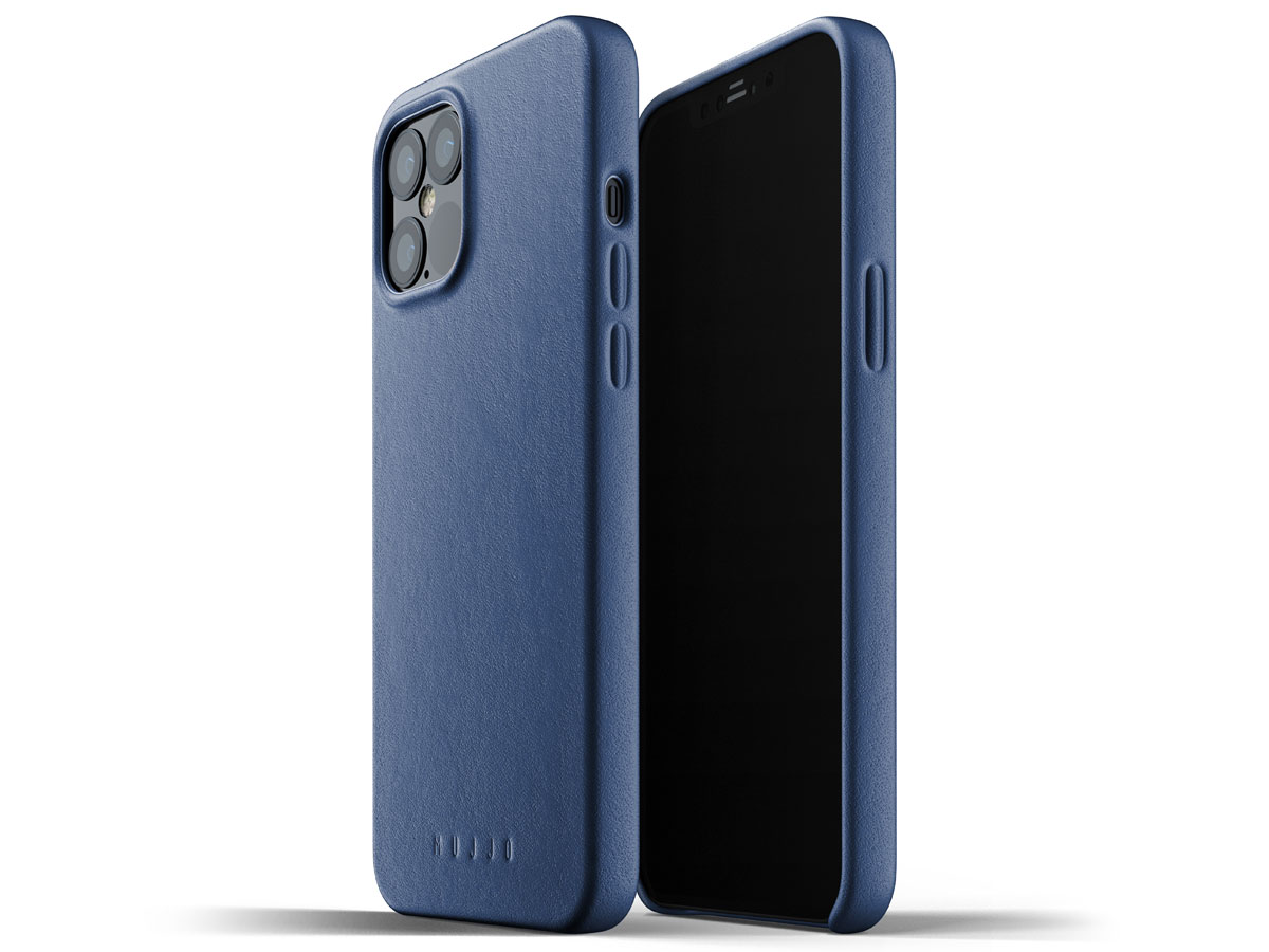Mujjo Full Leather Case Blauw - iPhone 12 Pro Max Hoesje Leer