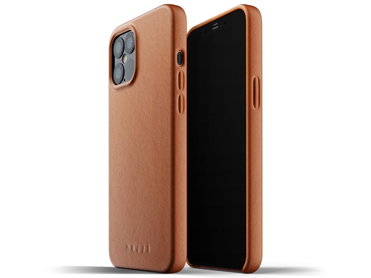 Mujjo Full Leather Case Tan - iPhone 12 Pro Max Hoesje Leer Cognac
