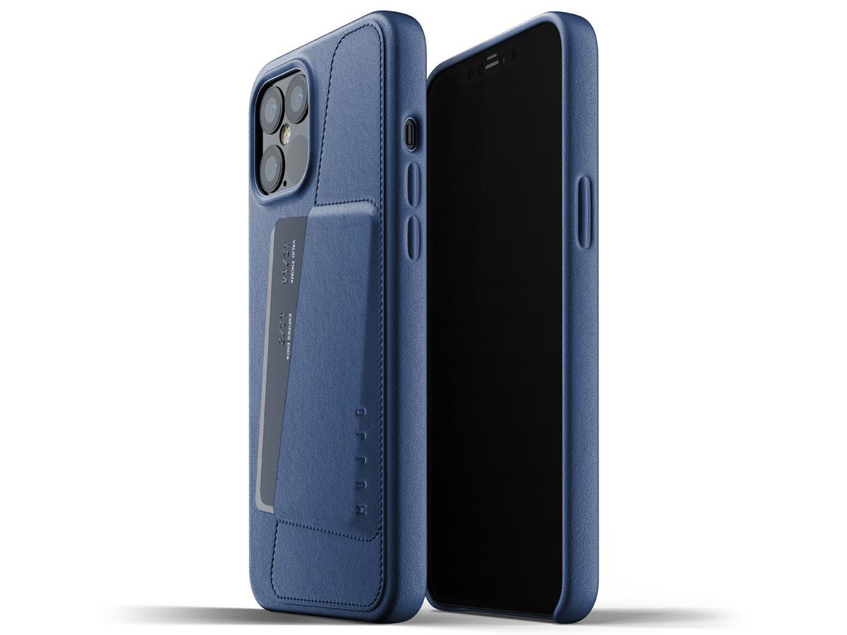 Mujjo Full Leather Wallet Case Blauw - iPhone 12 Pro Max Hoesje Leer