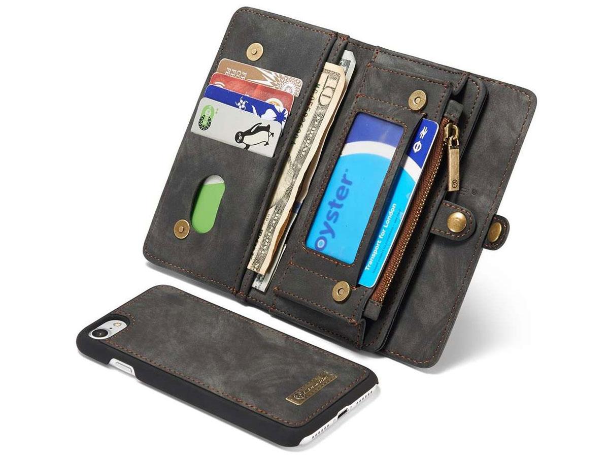 CaseMe 2in1 Wallet Ritsvak Case Zwart - iPhone SE 2020/8/7 Hoesje