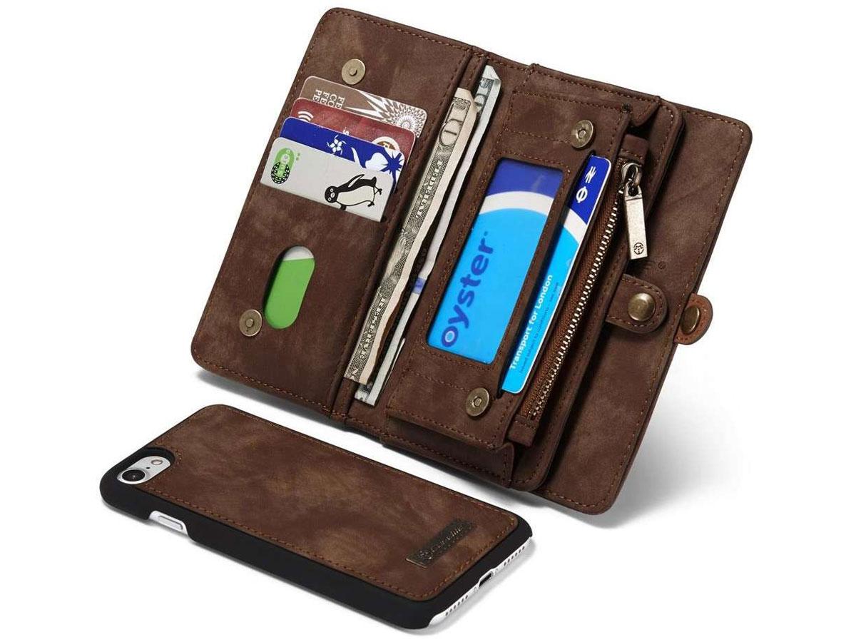 CaseMe 2in1 Wallet Ritsvak Case Bruin - iPhone SE 2020/8/7 Hoesje