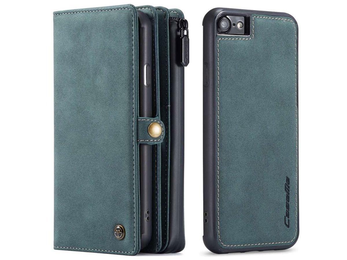 CaseMe Multi Wallet Ritsvak Case Blauw - iPhone SE 2020/8/7 Hoesje