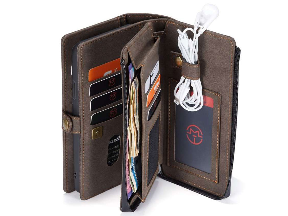 CaseMe Multi Wallet Ritsvak Case Bruin - iPhone SE 2020/8/7 Hoesje