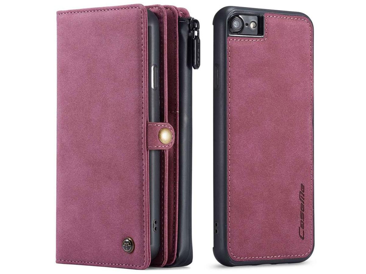 CaseMe Multi Wallet Ritsvak Case Rood - iPhone SE 2020/8/7 Hoesje