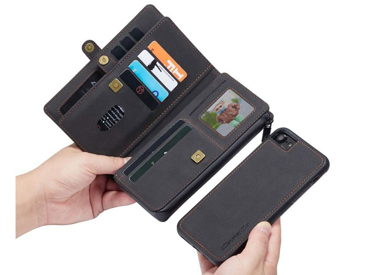 CaseMe Multi Wallet Ritsvak Case Zwart - iPhone SE 2020/8/7 Hoesje