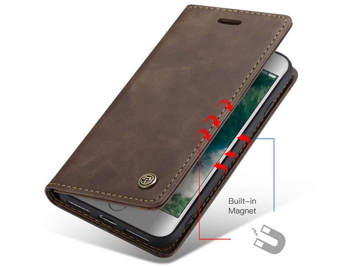 CaseMe Vintage BookCase Donkerbruin - iPhone SE 2020 / 8 / 7 hoesje