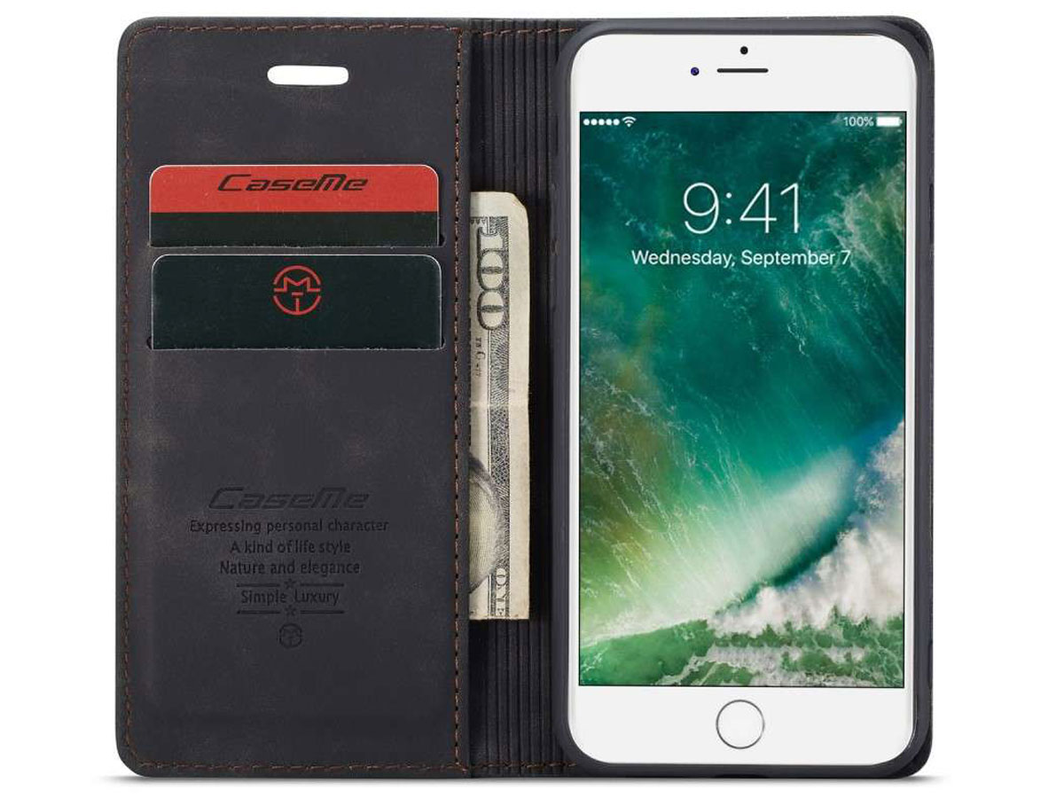 CaseMe Vintage BookCase Zwart - iPhone SE 2020 / 8 / 7 hoesje