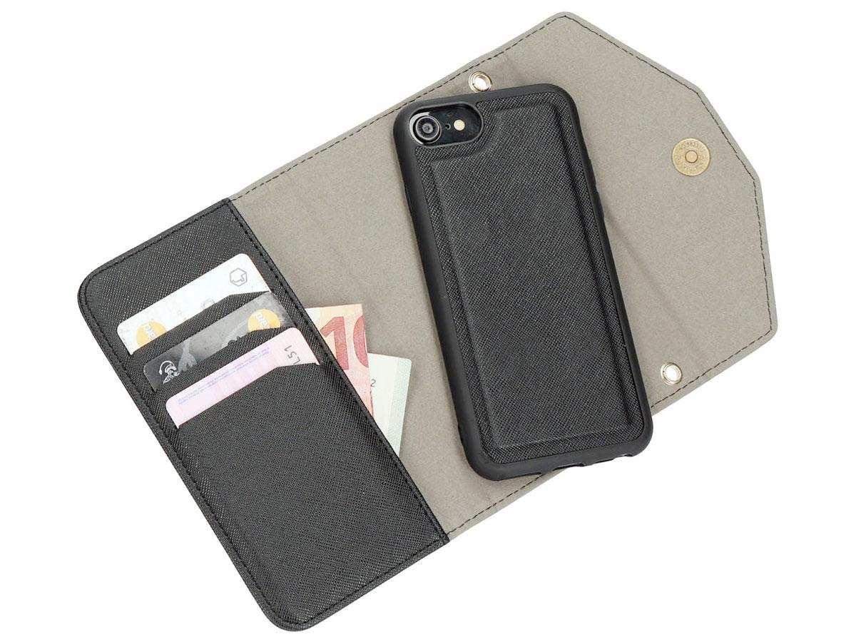 Casetastic Saffiano 2in1 Clutch Case Zwart - iPhone SE 2020/8/7 hoesje