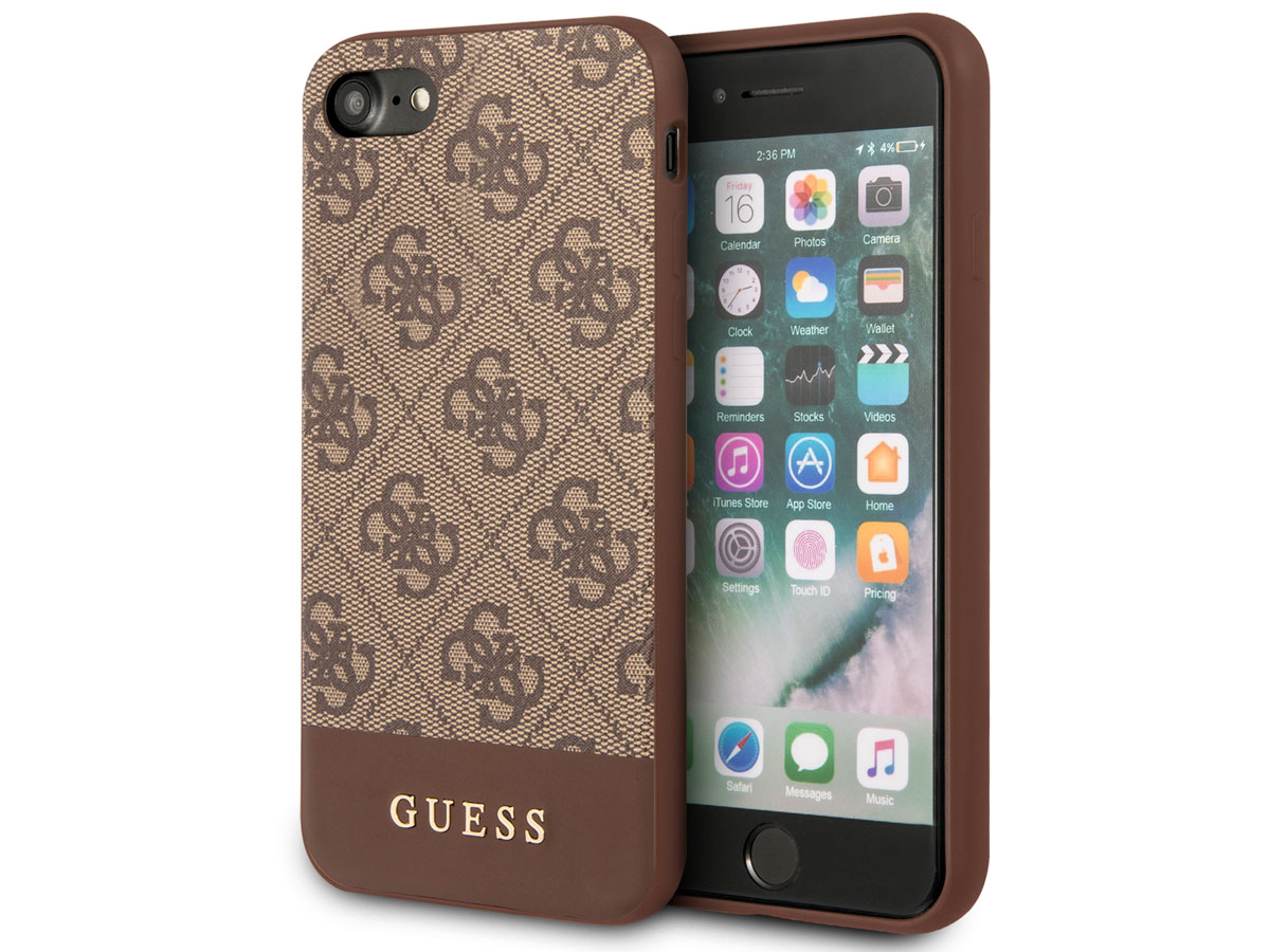 Guess 4G Monogram Case Bruin - iPhone SE 2020 / 8 / 7 / 6 hoesje