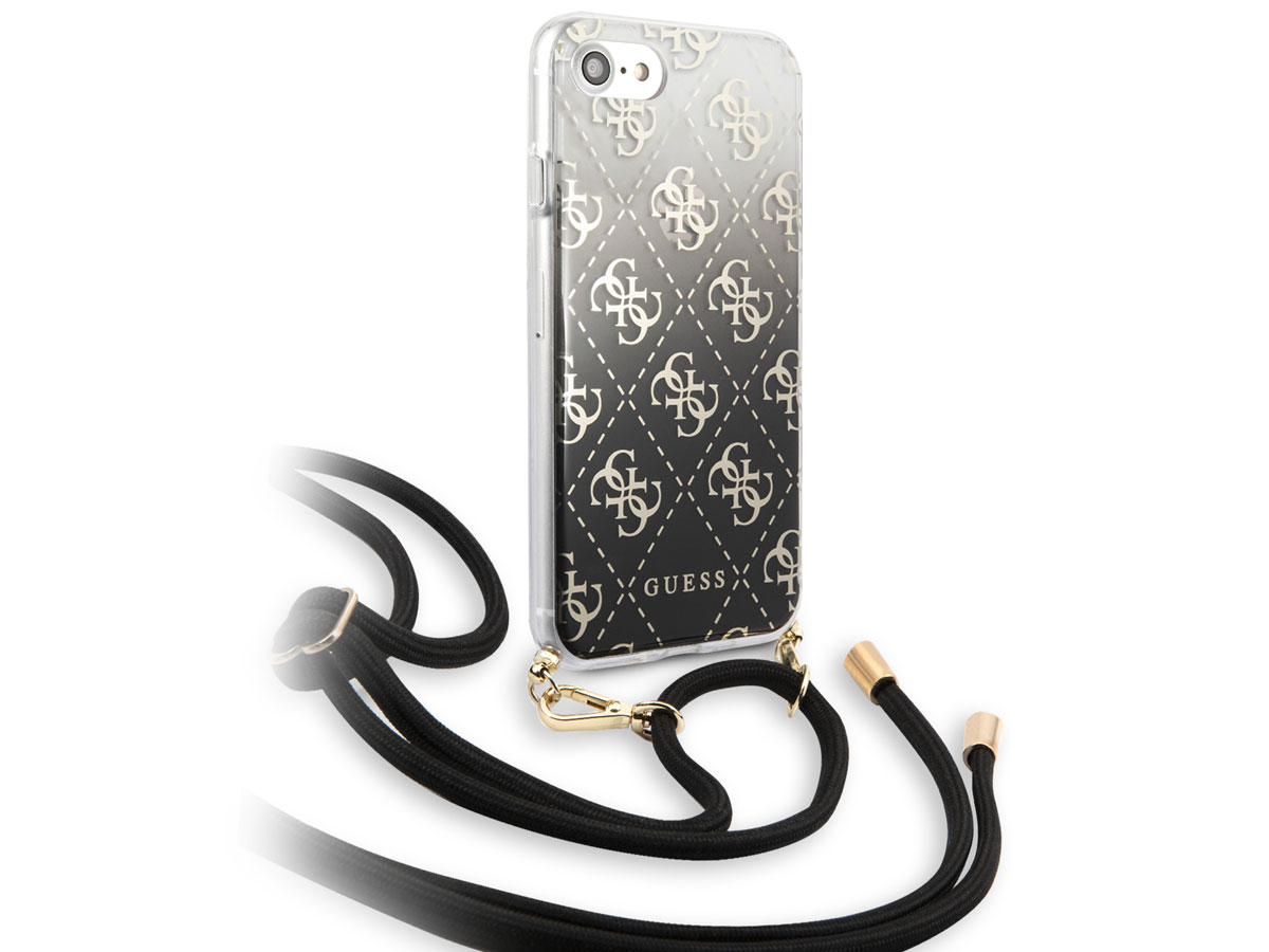 Guess 4G Necklace Case Zwart - iPhone SE 2020 / 8 / 7 / 6 hoesje
