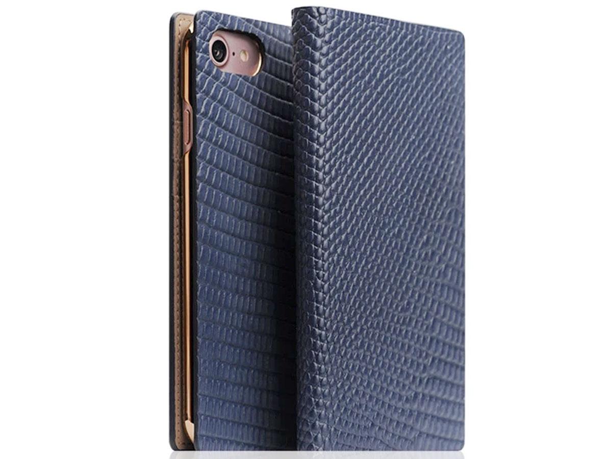 SLG Design D3 Lizard Blauw Leer - iPhone SE 2020 / 8 / 7 hoesje Donkerblauw