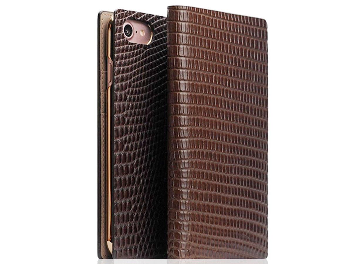 SLG Design D3 Lizard Bruin Leer - iPhone SE 2020 / 8 / 7 hoesje