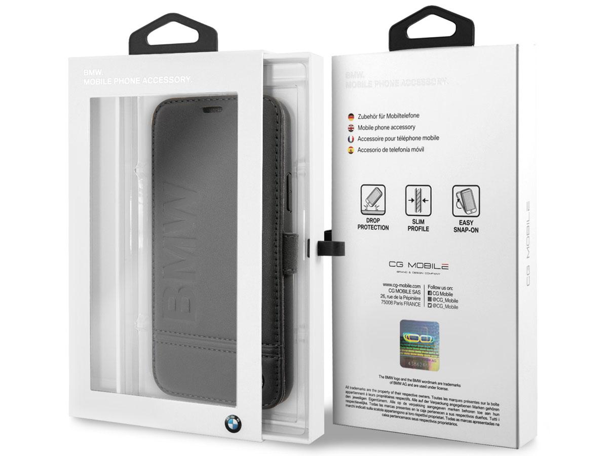 BMW Logo Leather Folio Zwart Leer - iPhone XR hoesje