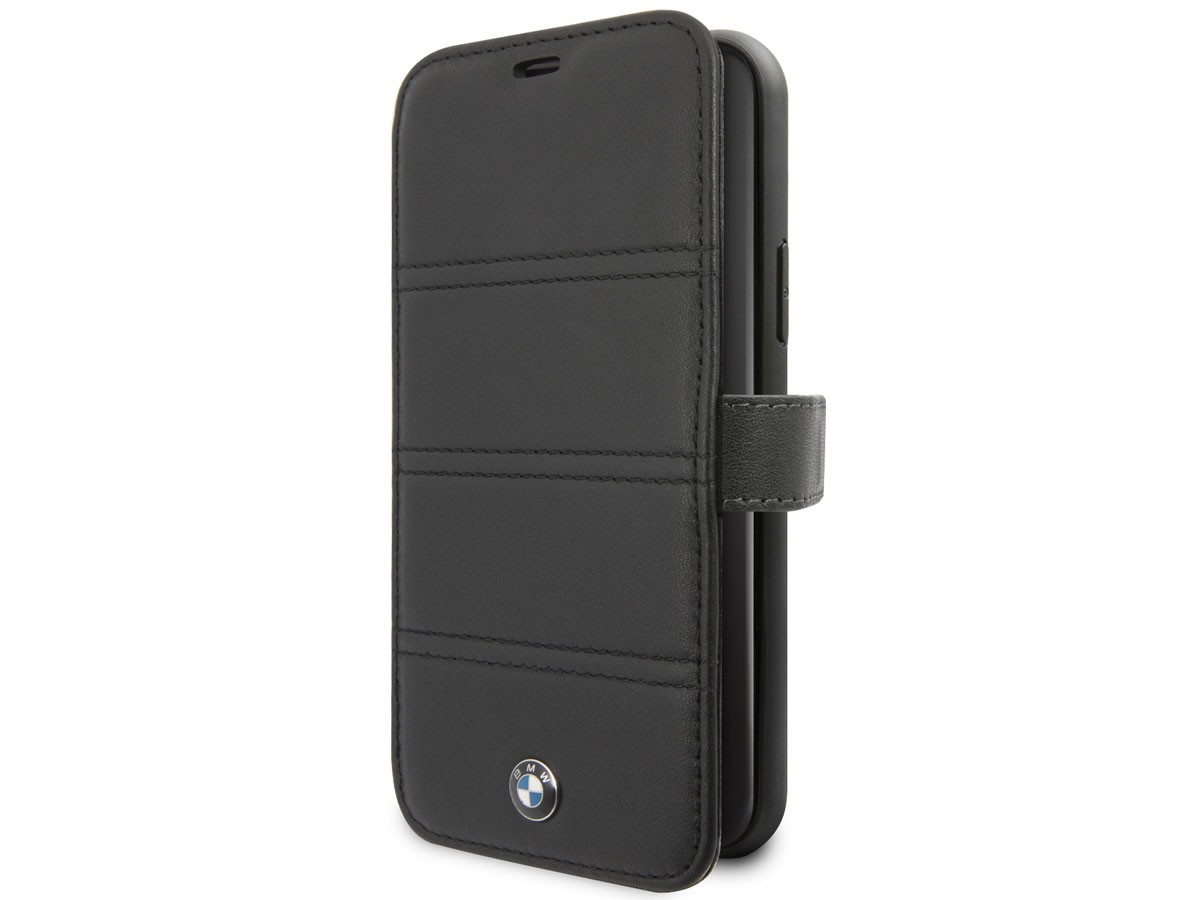 BMW Stitched Bookcase Zwart Leer - iPhone 11 hoesje