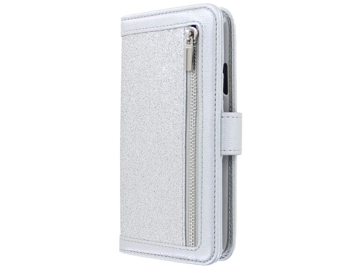 Glitsie Zip Case met Rits Zilver - iPhone 11 hoesje