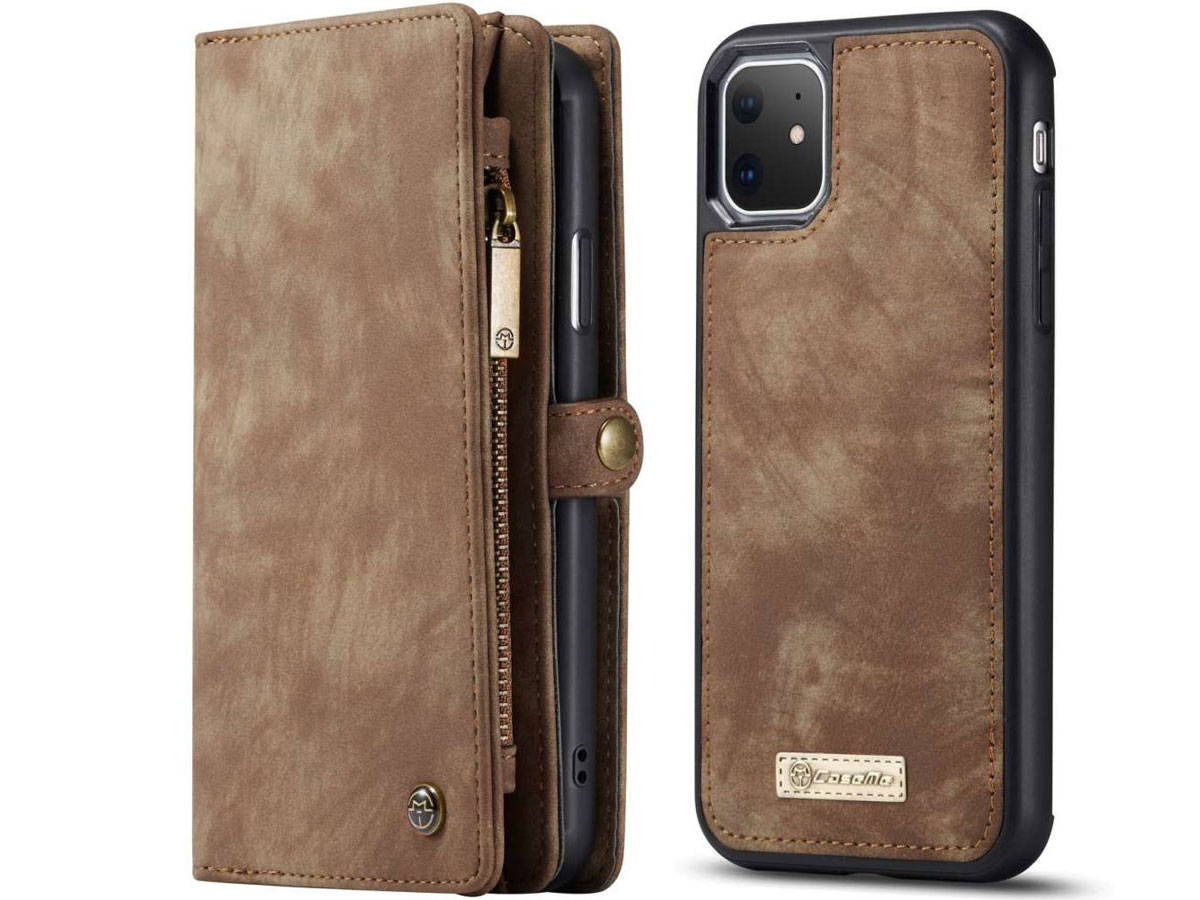 CaseMe 2in1 Wallet Ritsvak Case Bruin - iPhone 11 Hoesje