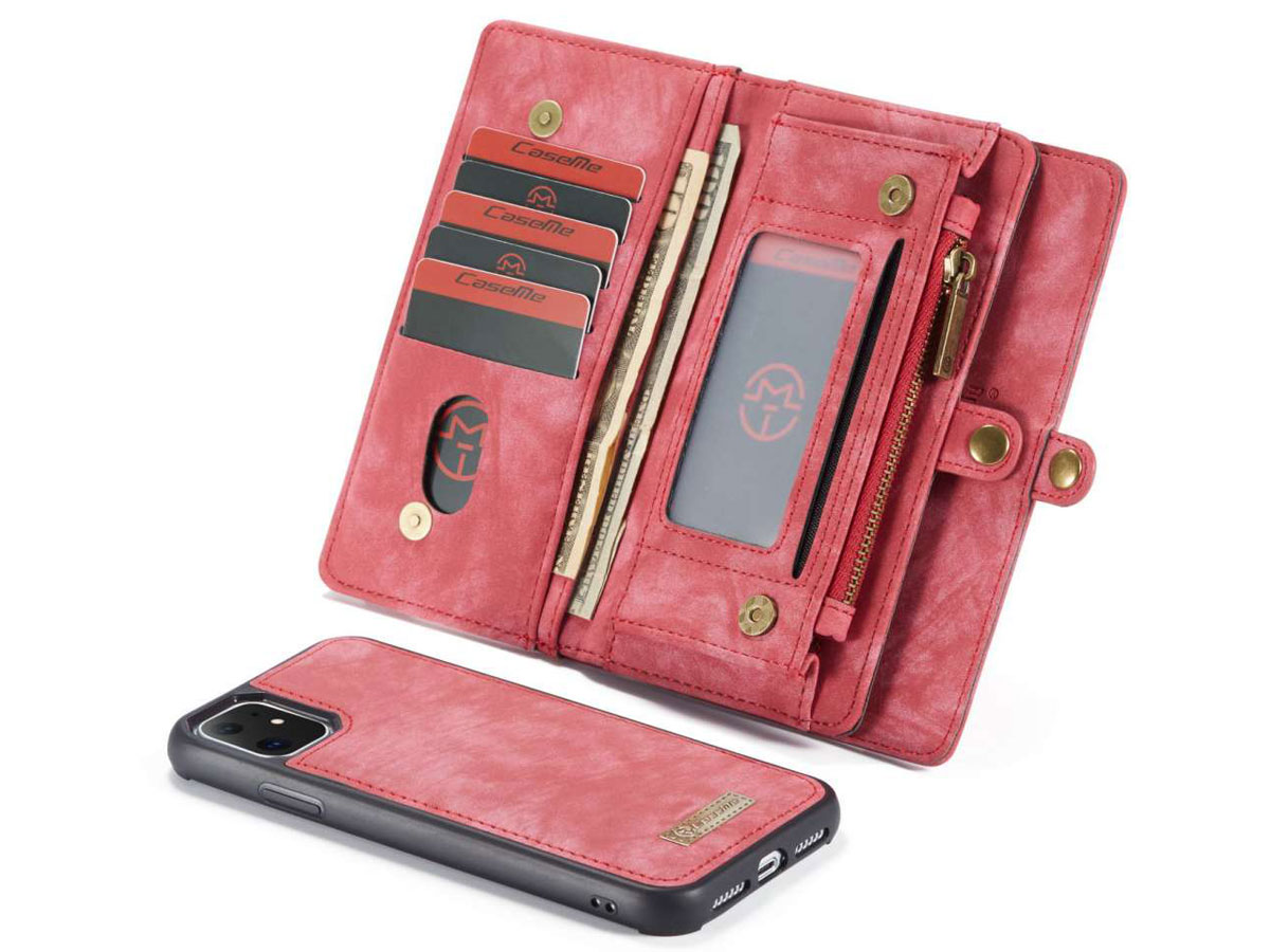 CaseMe 2in1 Wallet Ritsvak Case Rood - iPhone 11 Hoesje