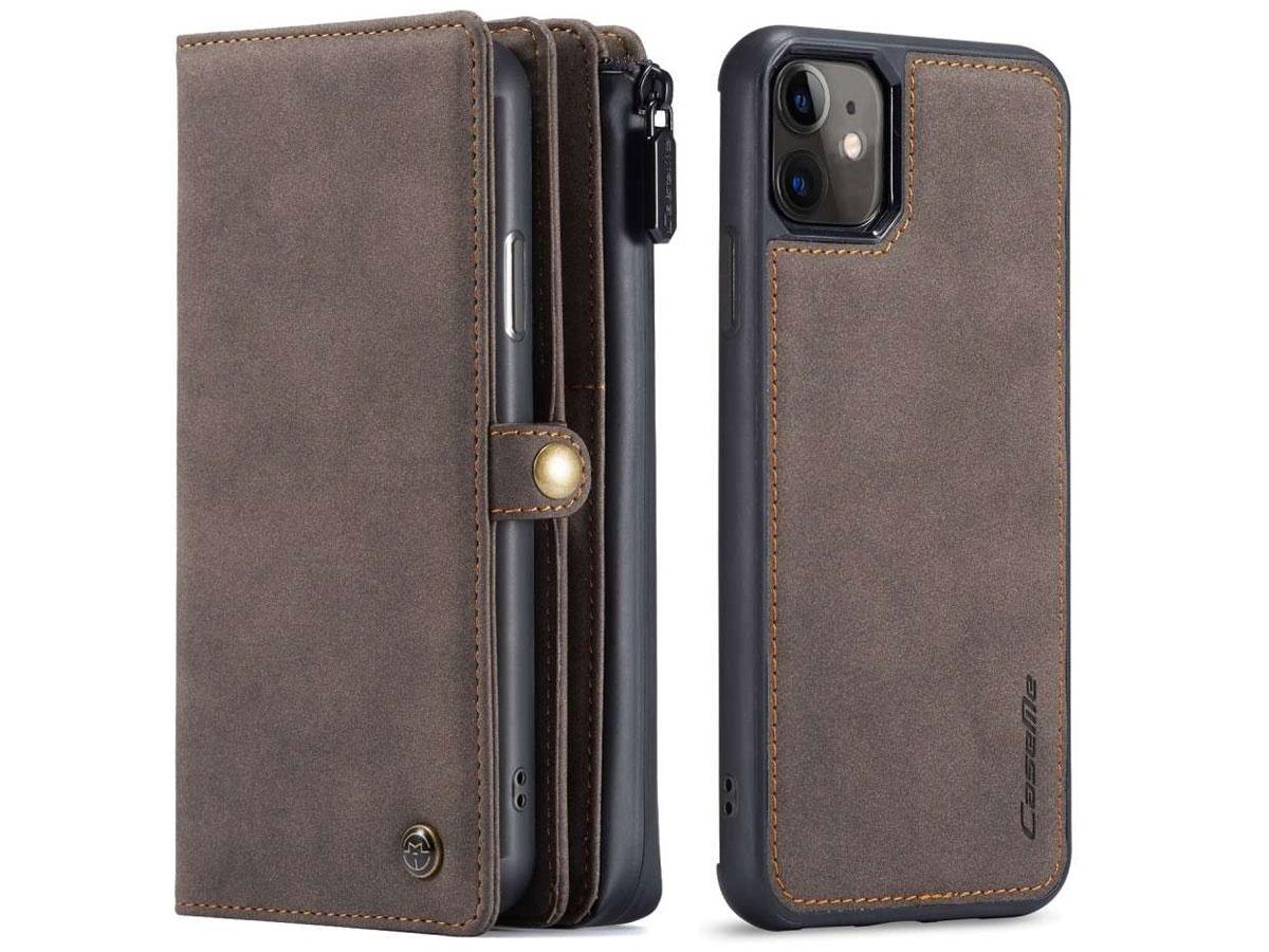 CaseMe Multi Wallet Ritsvak Case Bruin - iPhone 11/XR Hoesje