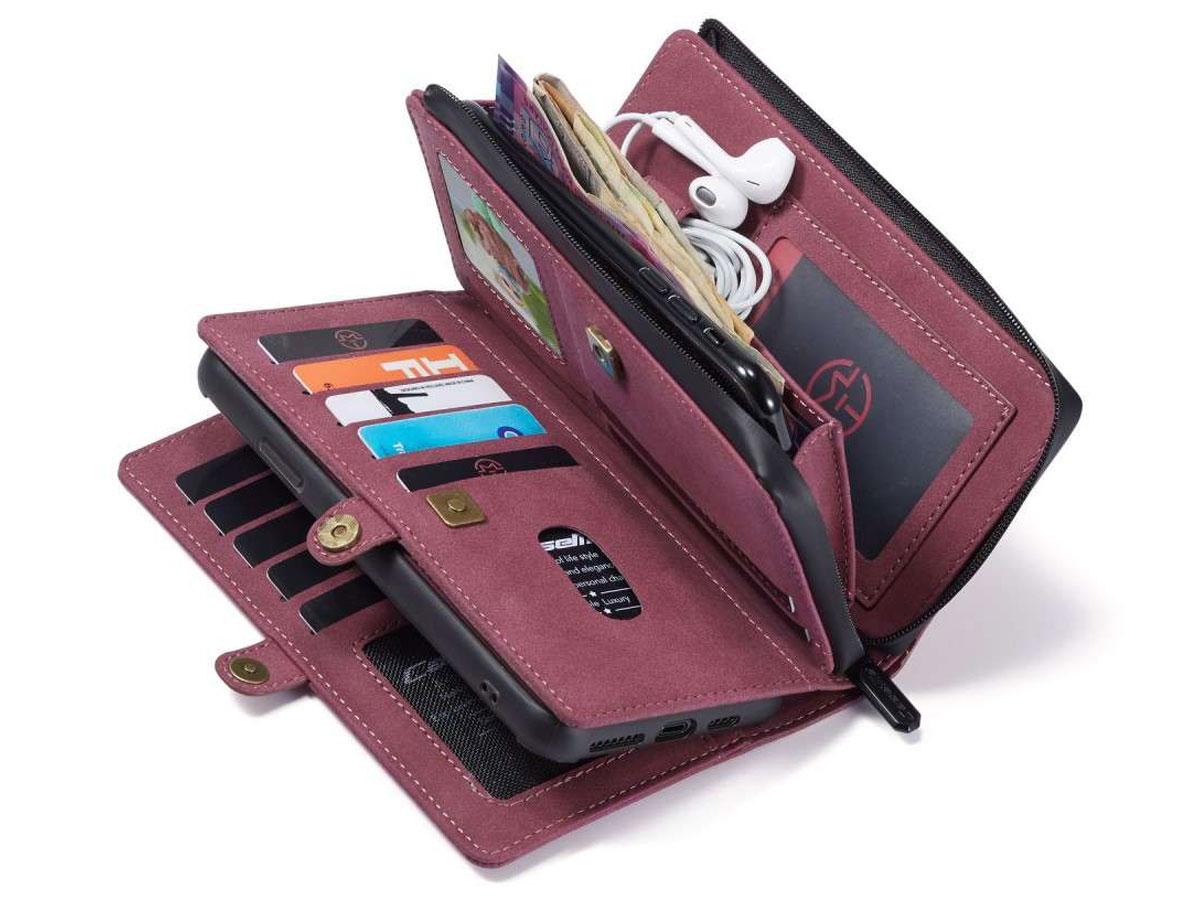 CaseMe Multi Wallet Ritsvak Case Rood - iPhone 11/XR Hoesje