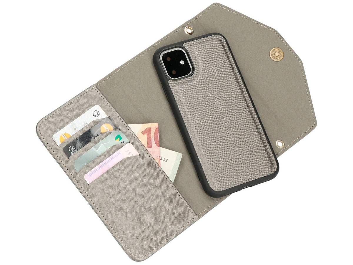 Casetastic Saffiano 2in1 Clutch Case Zilver - iPhone 11/XR hoesje