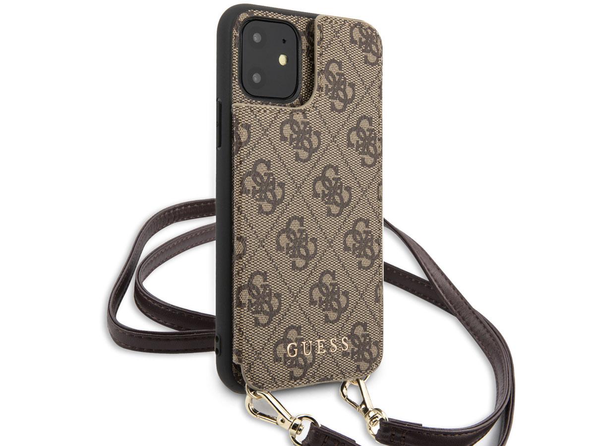 Guess 4G Crossbody Case Bruin - iPhone 11/XR hoesje