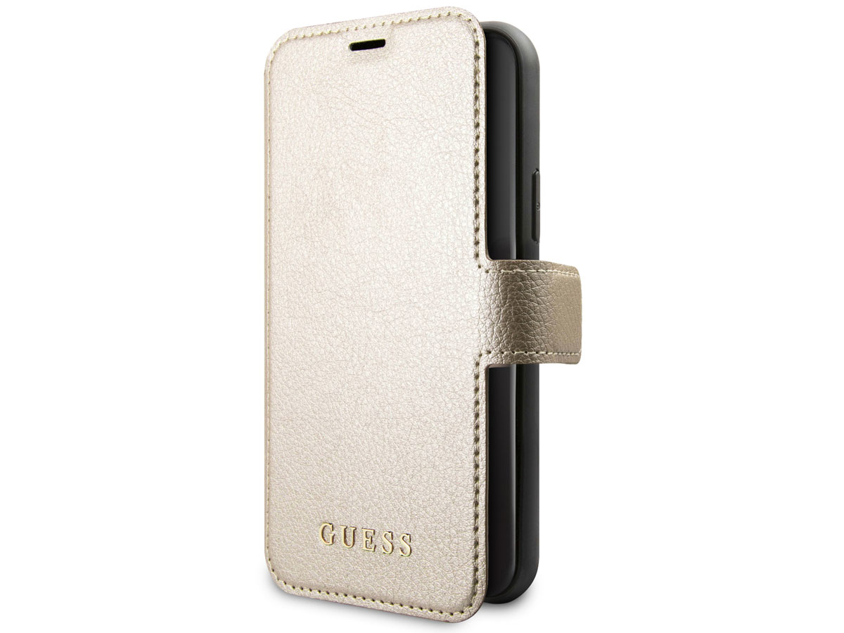 Guess Iridescent Bookcase Goud - iPhone 11 hoesje