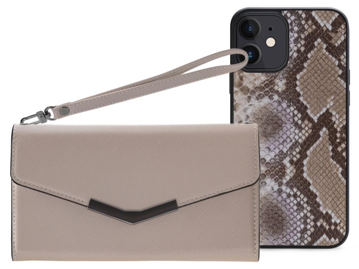 Mobilize Elegant Magnet Clutch Beige Snake - iPhone 11 / XR hoesje