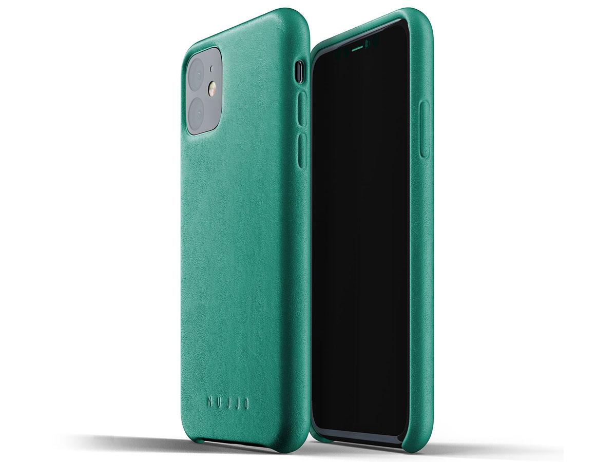 Mujjo Full Leather Case Groen Leer - iPhone 11 Hoesje