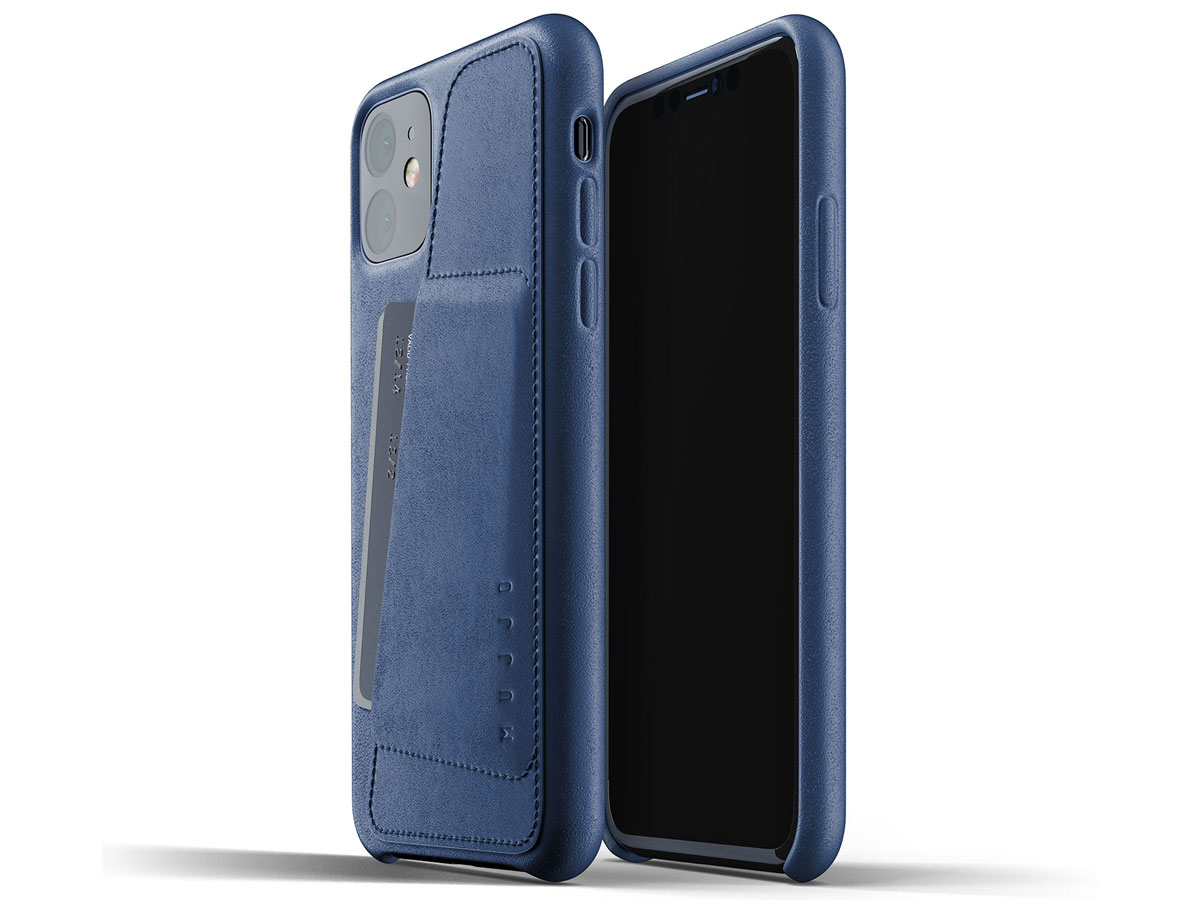 Mujjo Full Leather Wallet Case Blauw Leer - iPhone 11 Hoesje