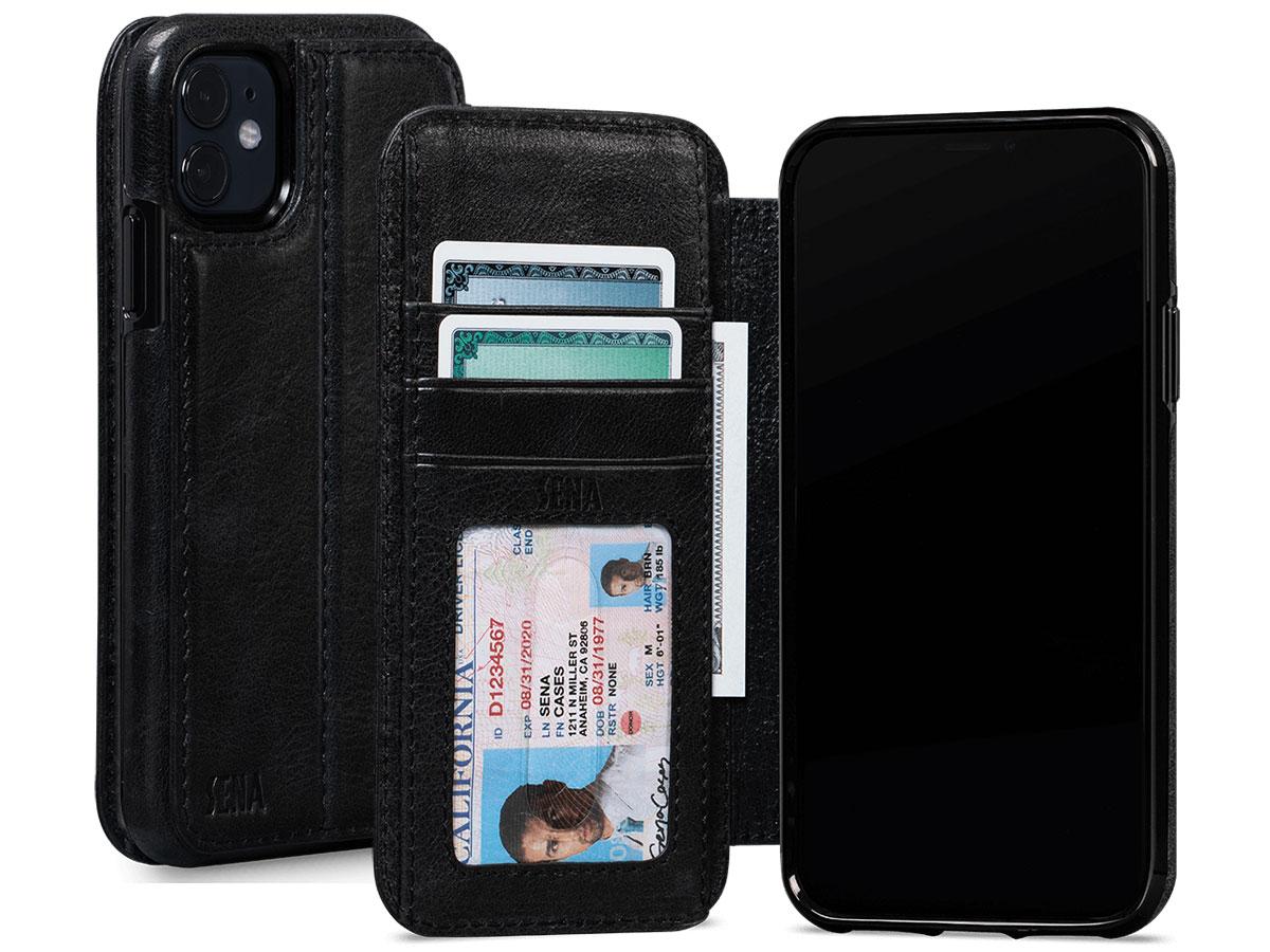 Sena Wallet Book Zwart - iPhone 11 Hoesje Leer