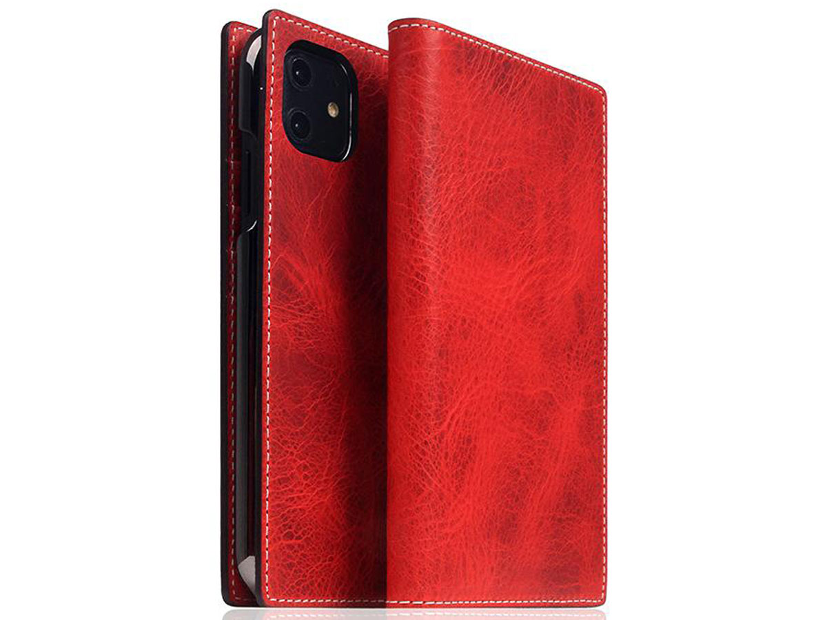 SLG Design D7 Italian Wax Leer Rood - iPhone 11 hoesje