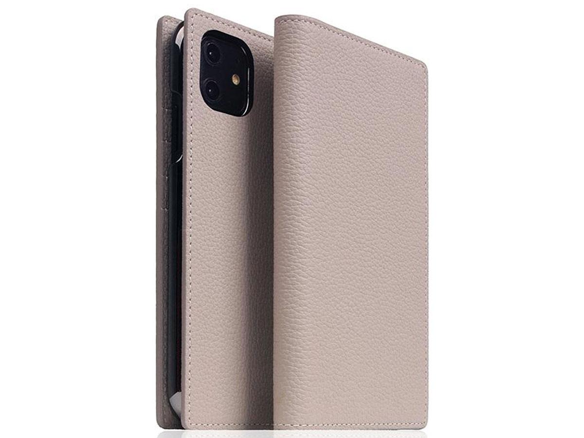 SLG Design D8 Folio Leer Light Cream - iPhone 11 hoesje Beige