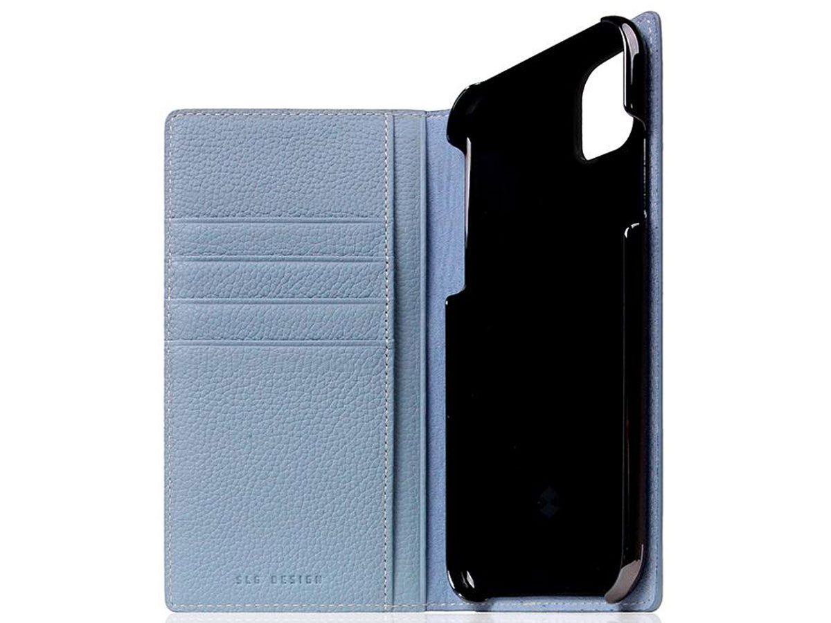 SLG Design D8 Folio Leer Powder Blue - iPhone 11 hoesje