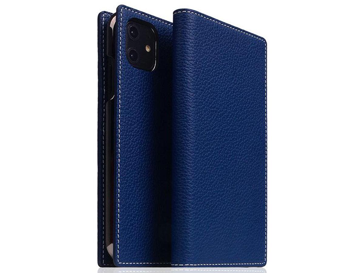 SLG Design D8 Folio Leer Navy Blue - iPhone 11 hoesje Blauw