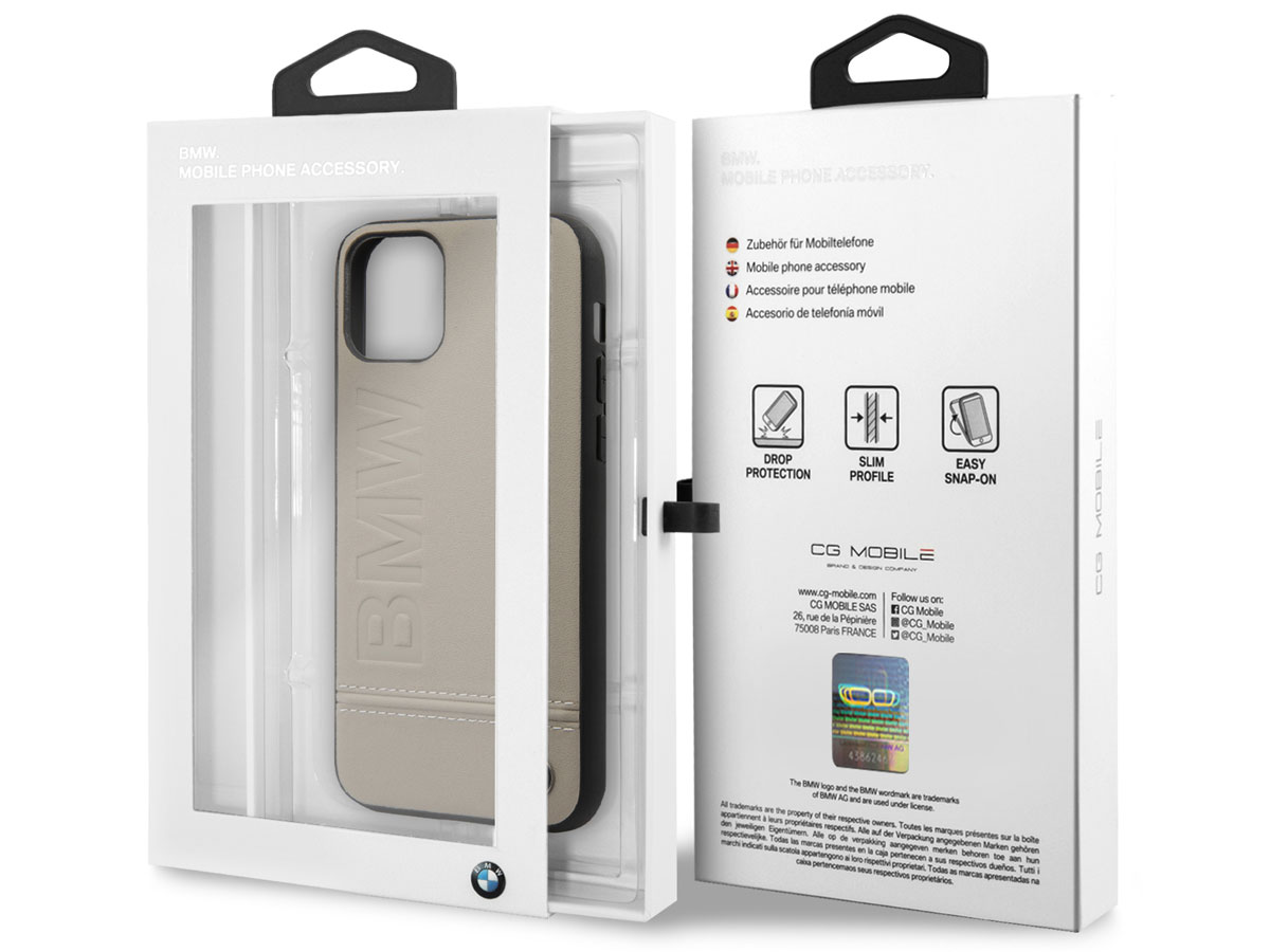 BMW Signature Case Taupe Leer - iPhone 11 Pro hoesje
