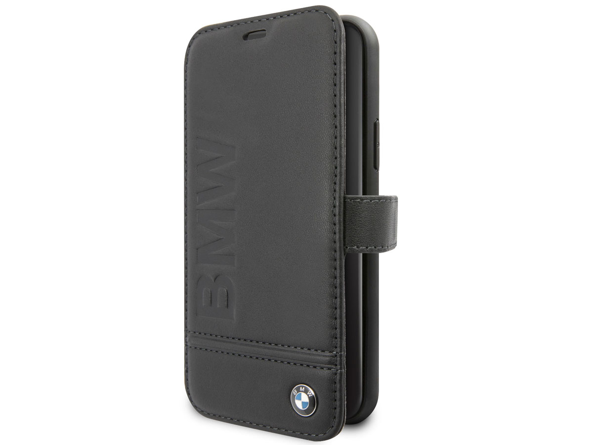 BMW Signature Bookcase Zwart Leer - iPhone 11 Pro hoesje
