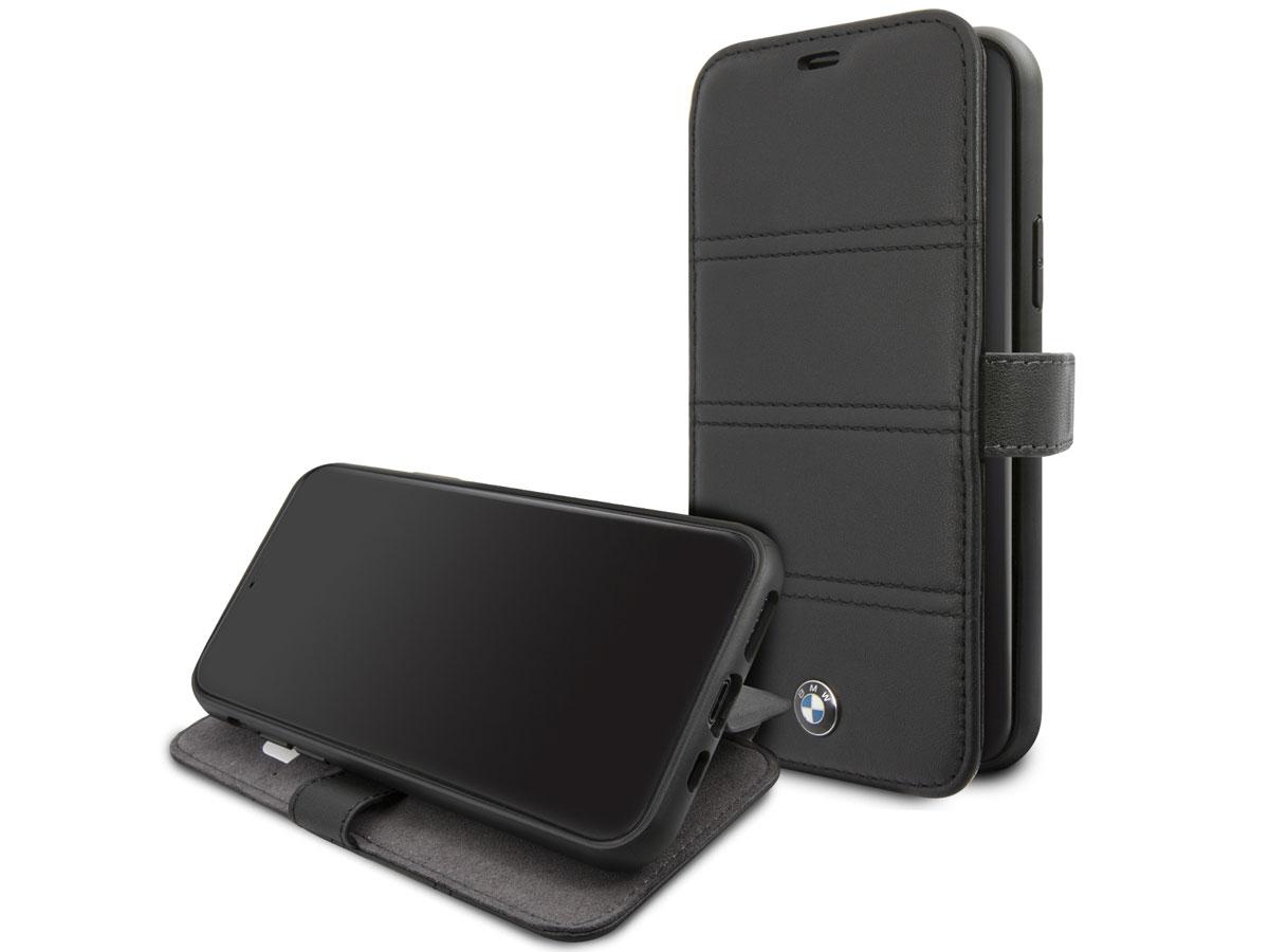 BMW Stitched Bookcase Zwart Leer - iPhone 11 Pro hoesje