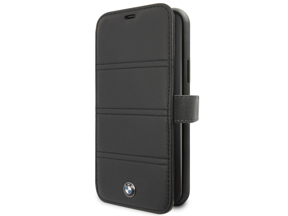 BMW Stitched Bookcase Zwart Leer - iPhone 11 Pro hoesje