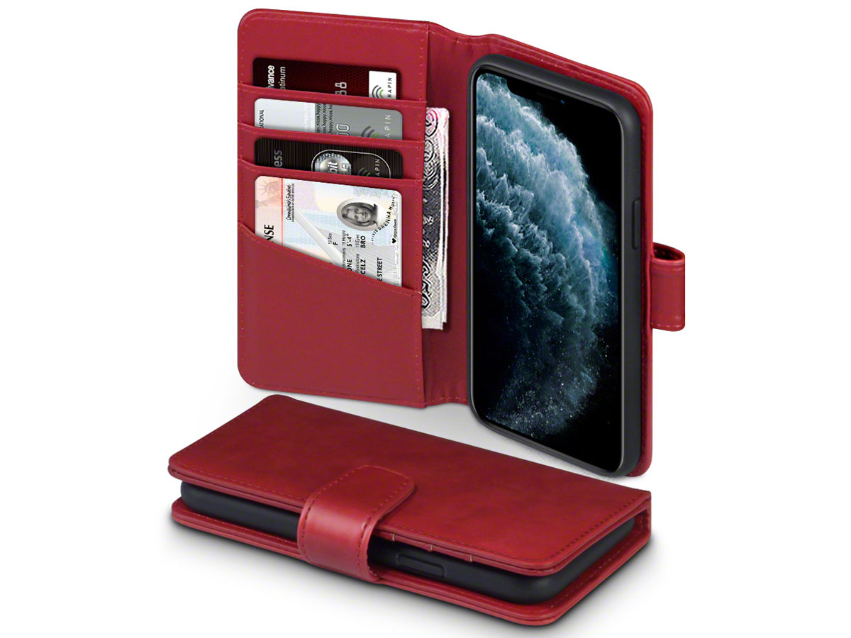 CaseBoutique Leather Wallet Rood Leer - iPhone 11 Pro hoesje