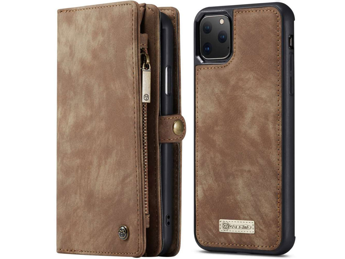 CaseMe 2in1 Wallet Ritsvak Case Bruin - iPhone 11 Pro Hoesje