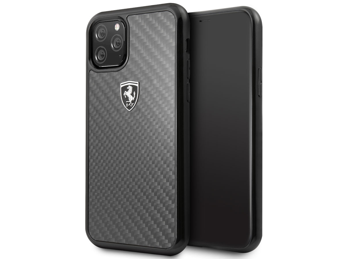 Ferrari Carbon Fiber Hard Case - iPhone 11 Pro hoesje Zwart