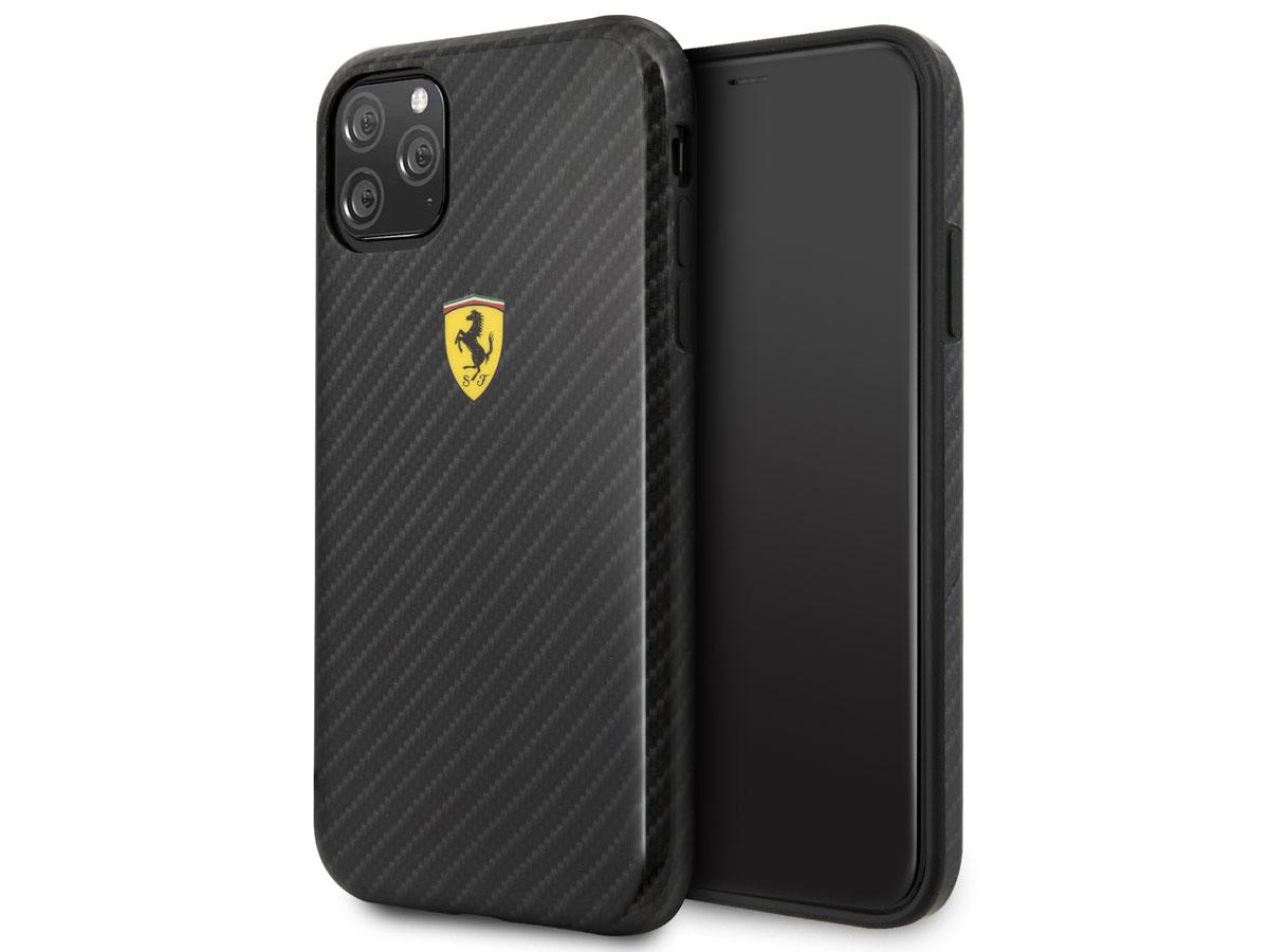 Ferrari Dual Layer Case Carbon Zwart - iPhone 11 Pro Hoesje