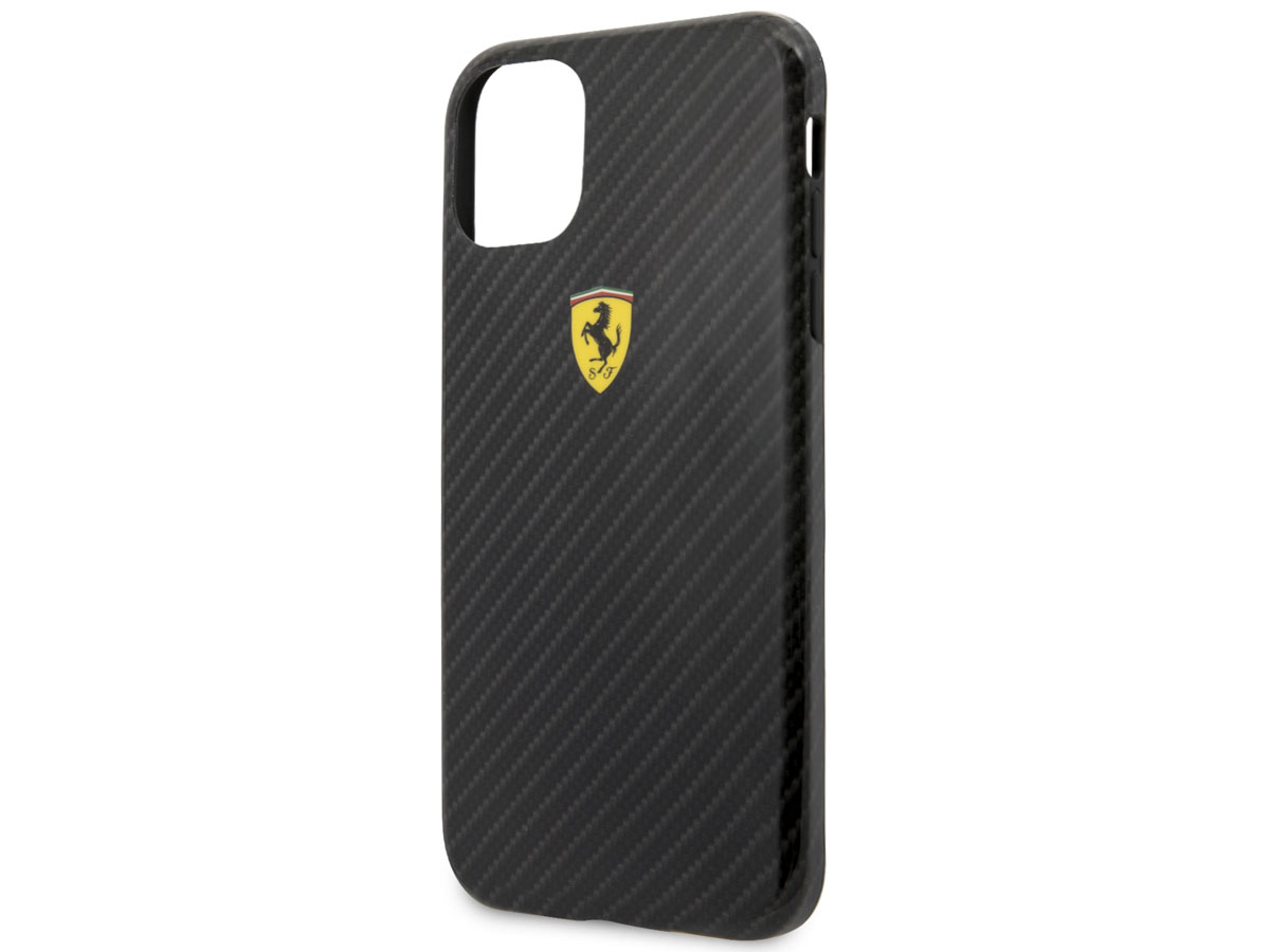 Ferrari Dual Layer Case Carbon Zwart - iPhone 11 Pro Hoesje