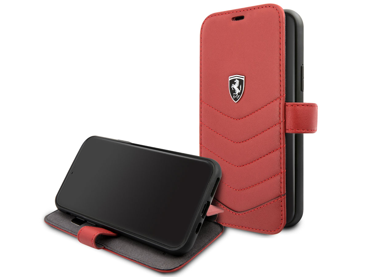 Ferrari Quilted Leather Folio Rood - iPhone 11 Pro Hoesje