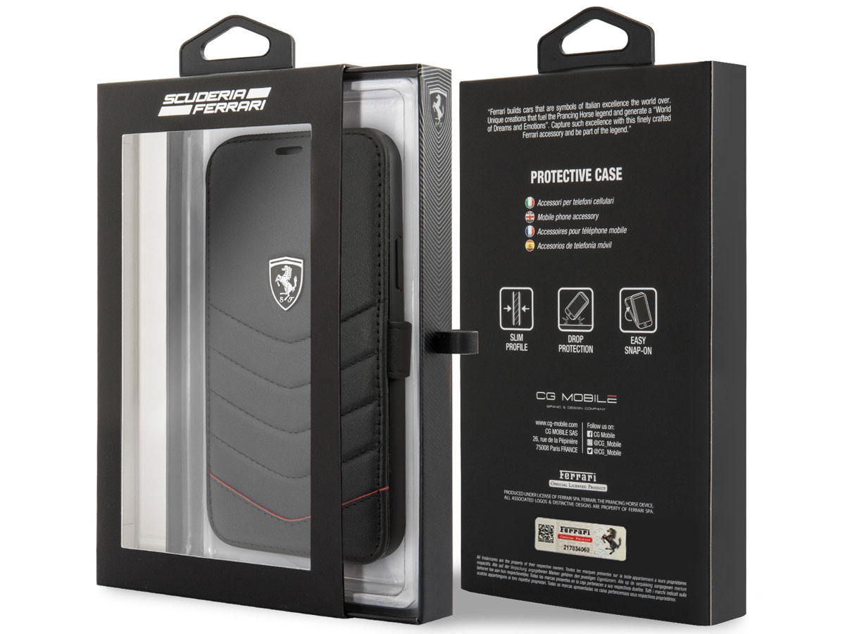 Ferrari Quilted Leather Folio Zwart - iPhone 11 Pro Hoesje