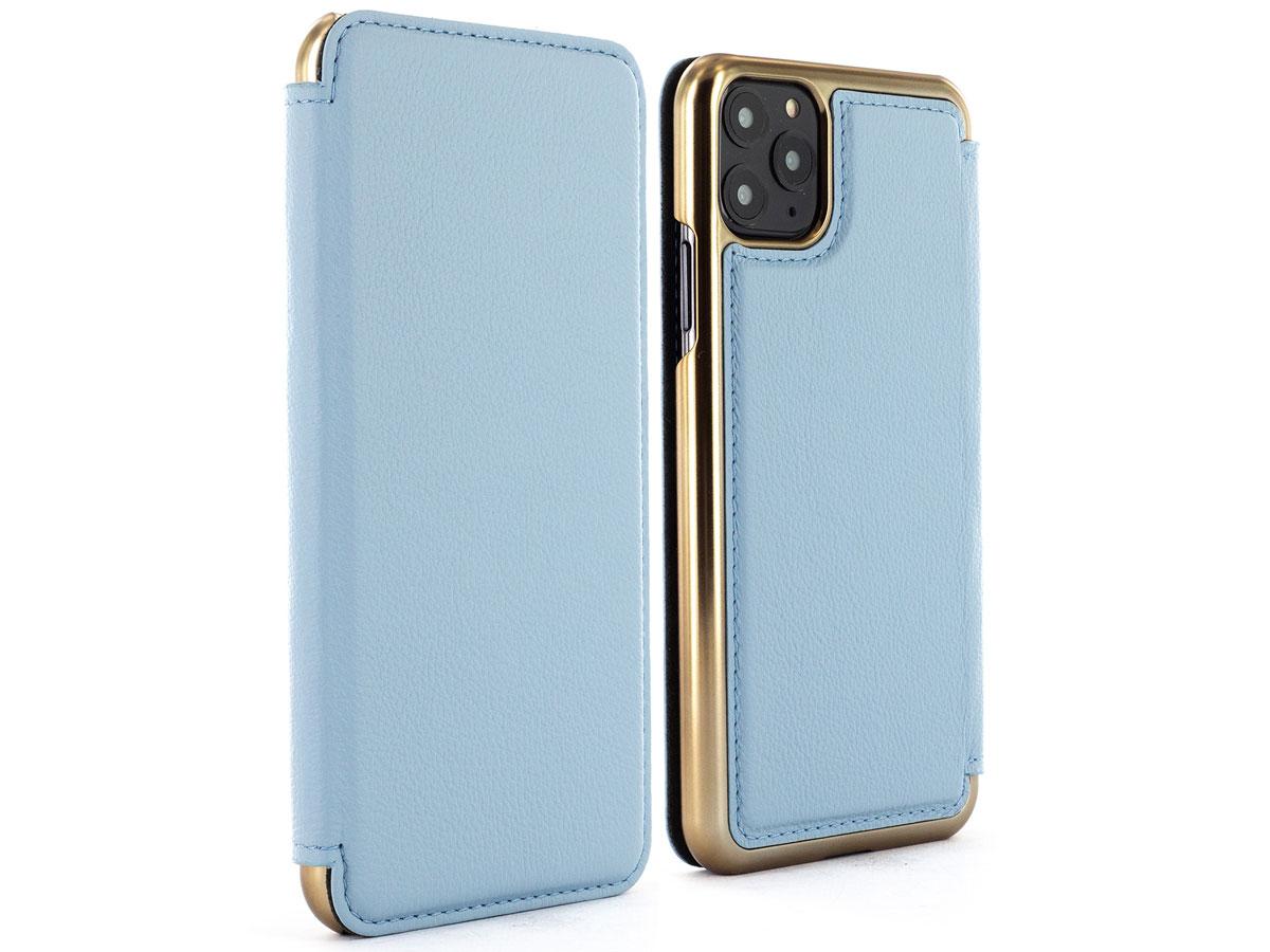 Greenwich Blake Folio Beach House/Gold - iPhone 11 Pro Hoesje Leer Lichtblauw