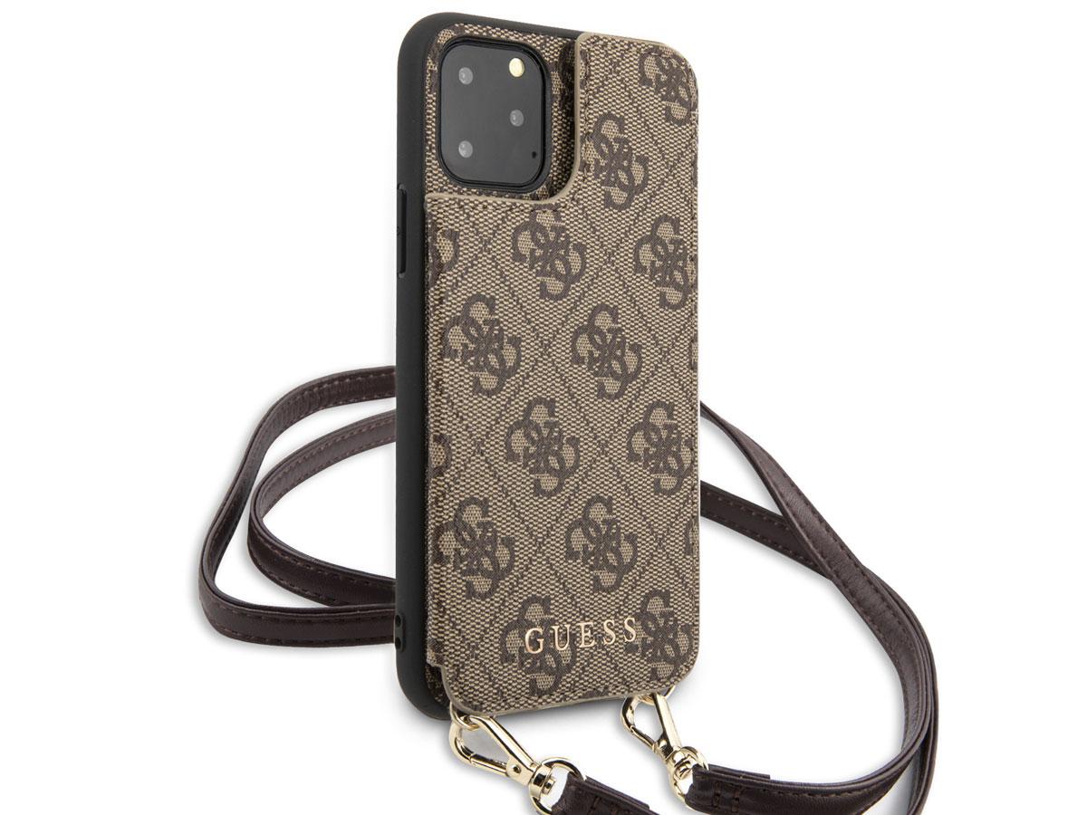 Guess 4G Crossbody Case Bruin - iPhone 11 Pro hoesje