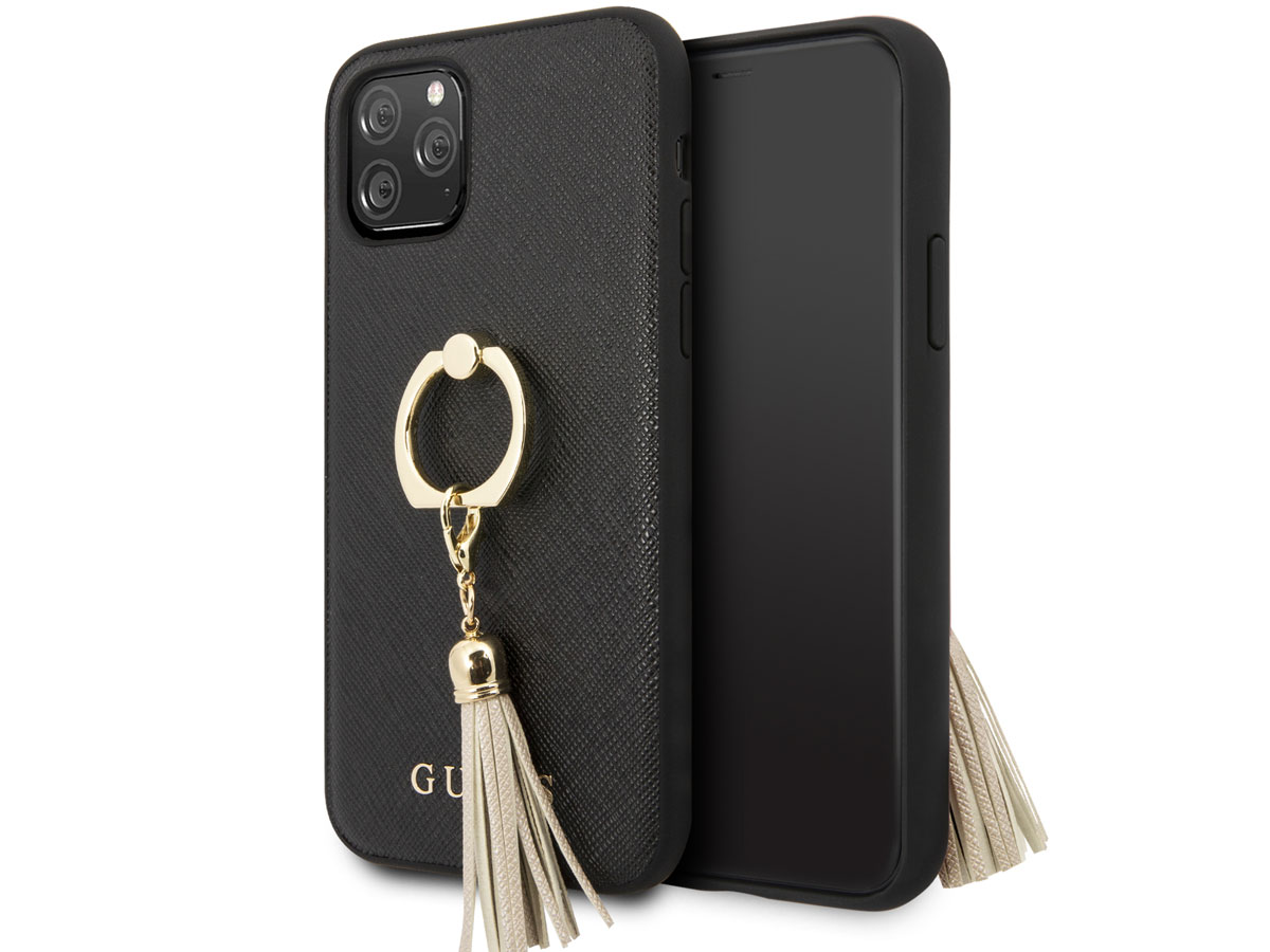 Guess Tassel iRing Case Zwart - iPhone 11 Pro hoesje
