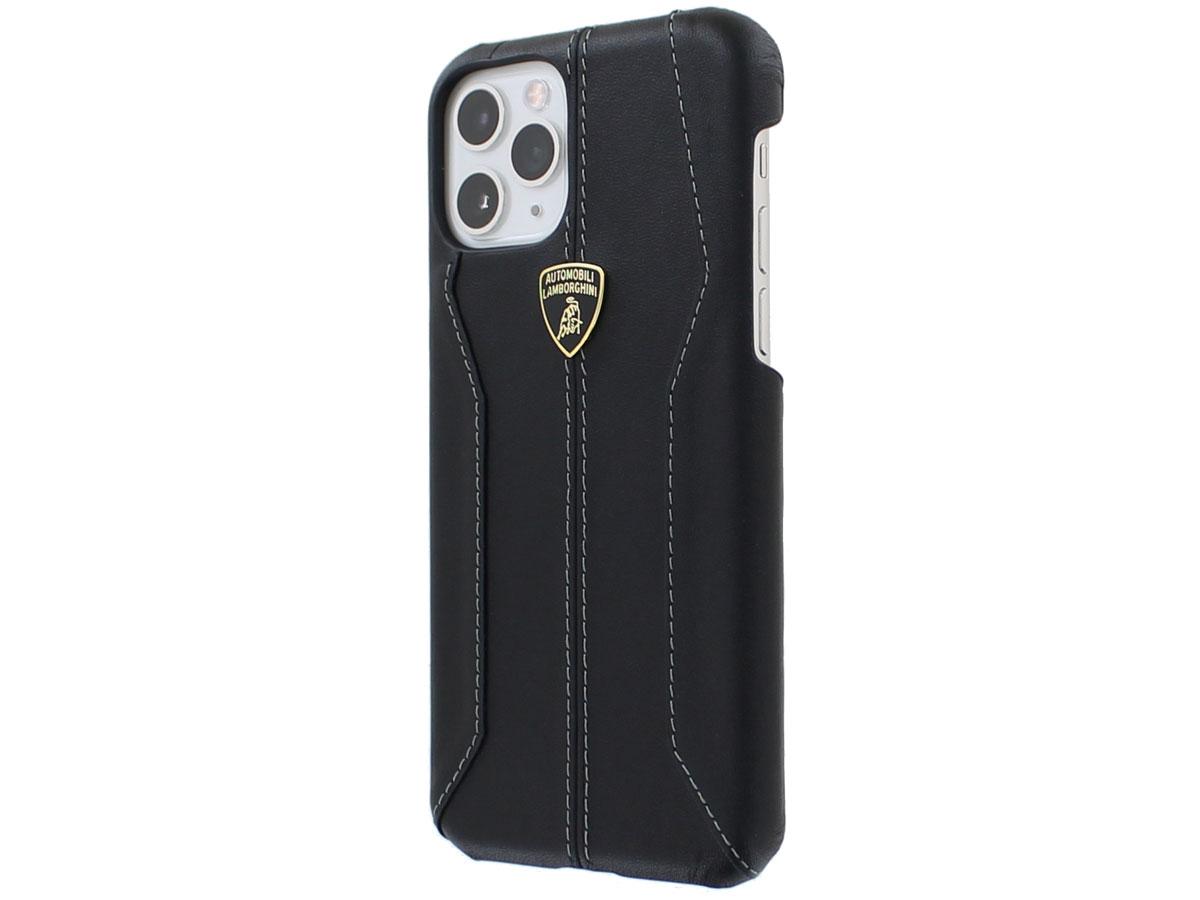 Lamborghini Leather Case Zwart - iPhone 11 Pro hoesje